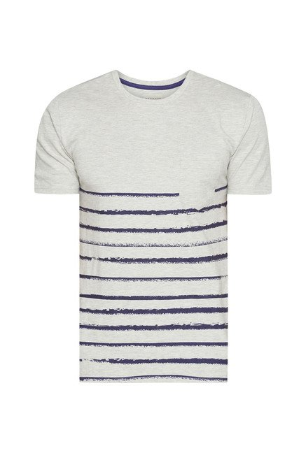 Westsport Mens Beige Striped T Shirt