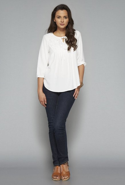 LOV White Embroidered Round Neck Blouse