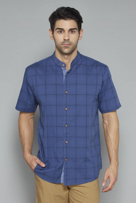 Westsport Mens Indigo Checks Shirt