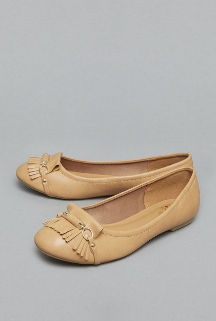 Head Over Heels Beige Ballerina Shoes