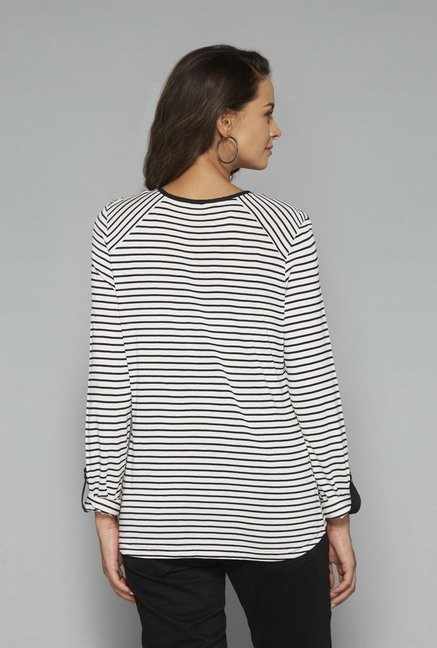 LOV White Round Neck Striped T Shirt