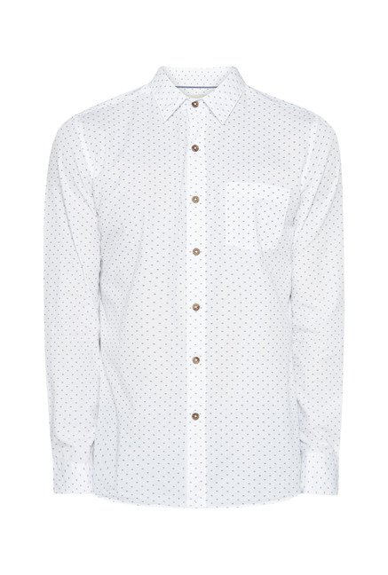 Westsport Mens White Printed Shirt