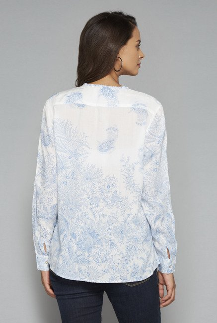 LOV White Floral Printed Blouse