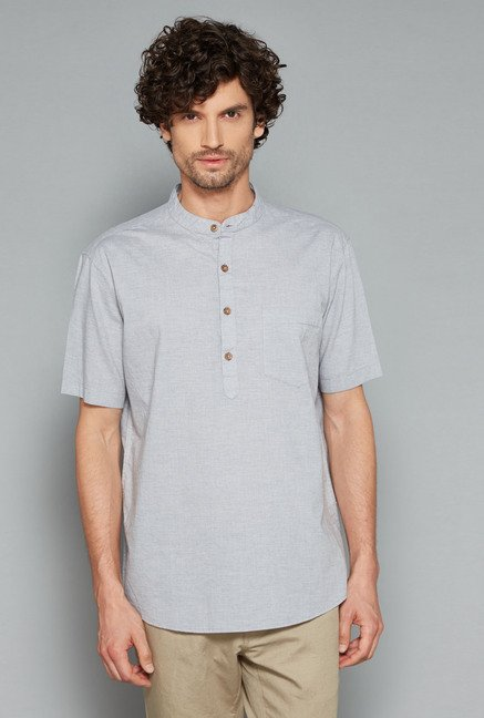 Westsport Mens Grey Solid Shirt