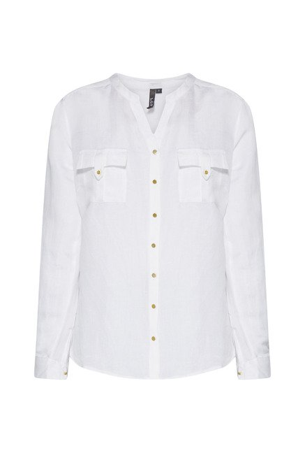 LOV White Solid Blouse