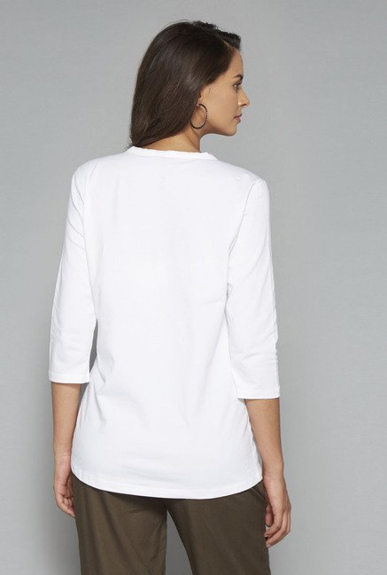 LOV White Solid T Shirt