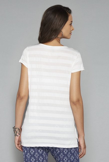 LOV Off White Striped T Shirt