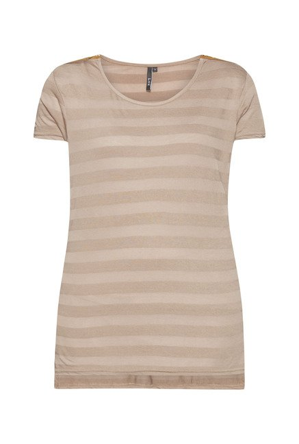 LOV Taupe Striped T Shirt
