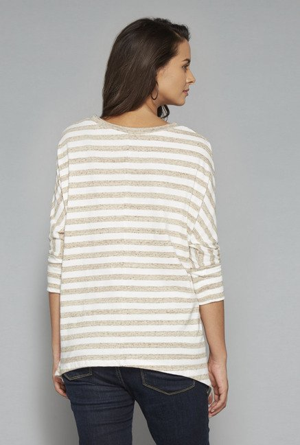 LOV Off White Striped Round Neck T Shirt