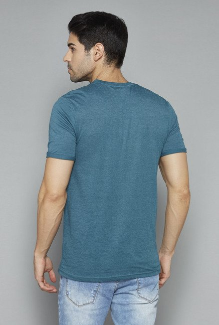 Nuon Teal Printed T Shirt