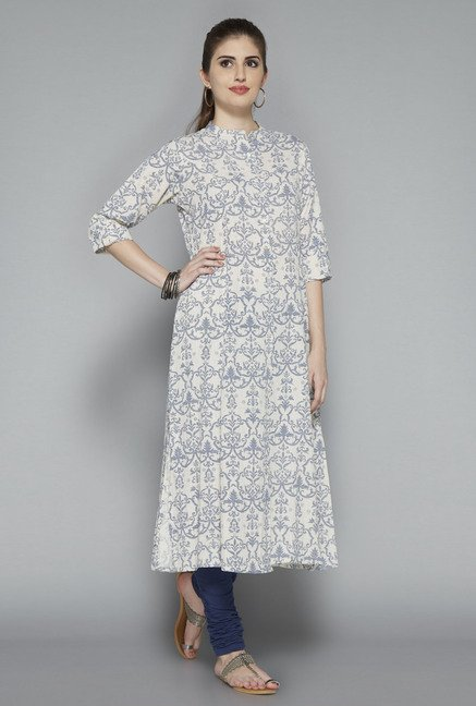 Utsa Off White Printed Cotton Kurta