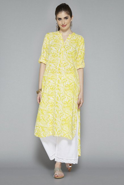 Utsa White Block Printed Kurta