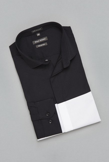 Weststreet Black & White Solid Shirt