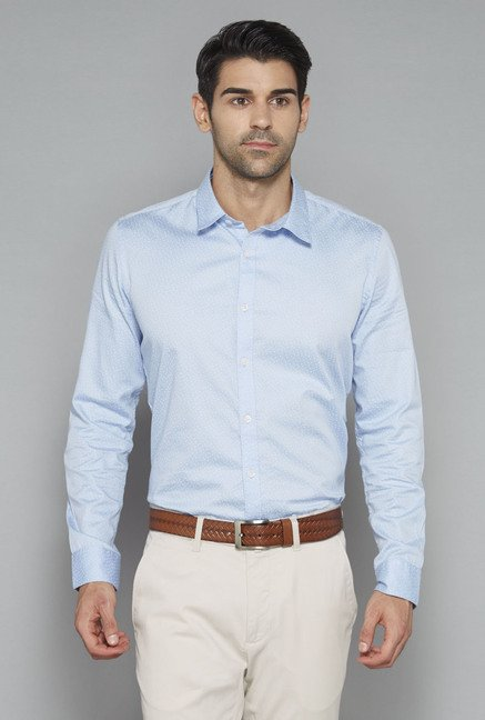 Ascot Light Blue Printed Shirt