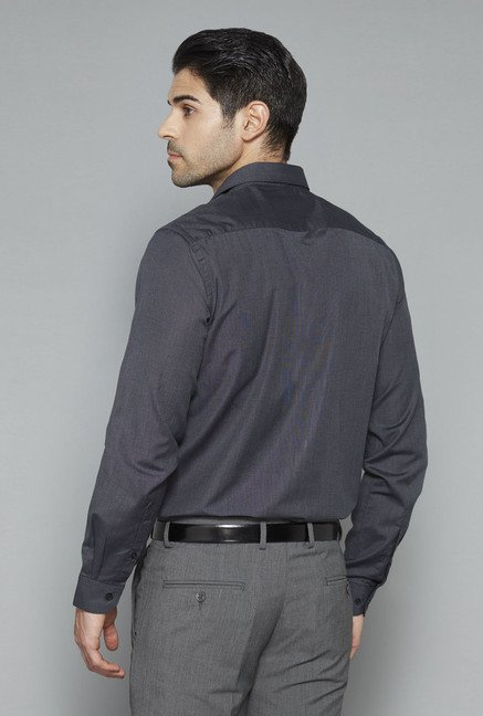 Weststreet Grey Solid Slim Fit Shirt