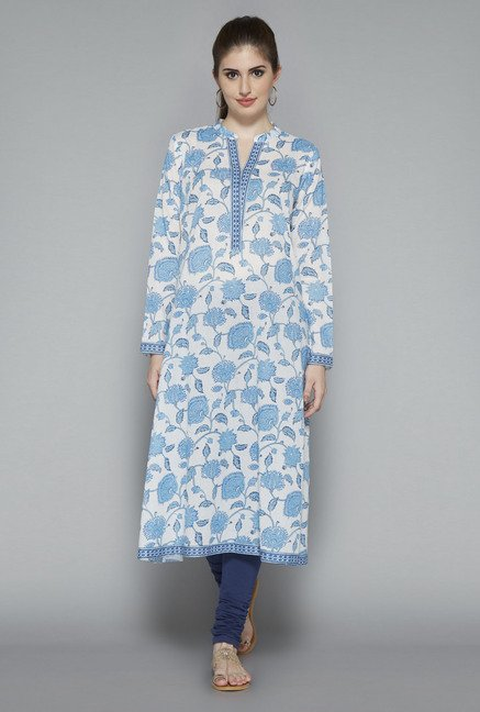 Utsa White Cotton Floral Printed Kurta