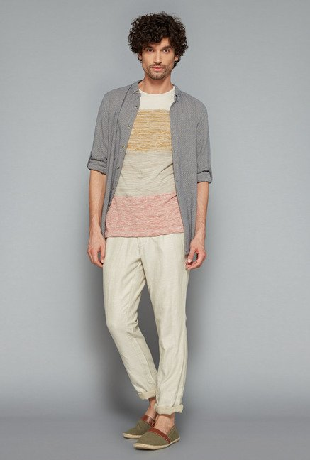 ETA Beige Printed Slim Fit T Shirt