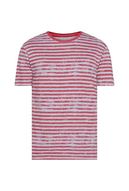 Westsport Mens Red Striped Slim Fit T Shirt