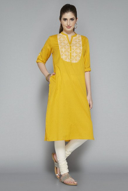 Utsa Yellow Embroidered Kurta