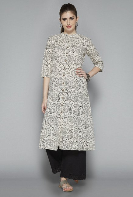 Utsa Beige Cotton Kurta