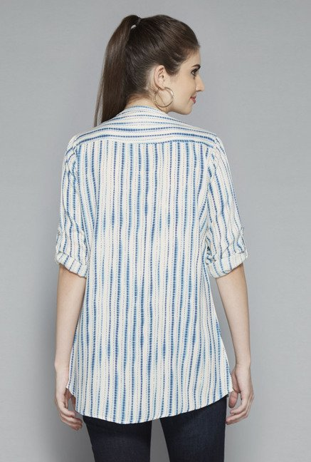 Utsa Off White Striped Kurti