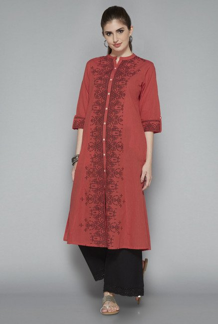 Utsa Red Printed Kurta