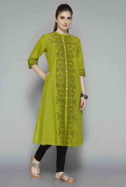 Utsa Lime Cotton Printed Kurta