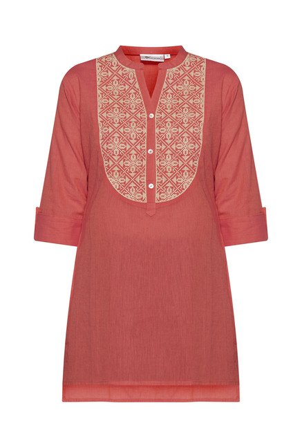 Utsa Coral Embroidered Cotton Kurti