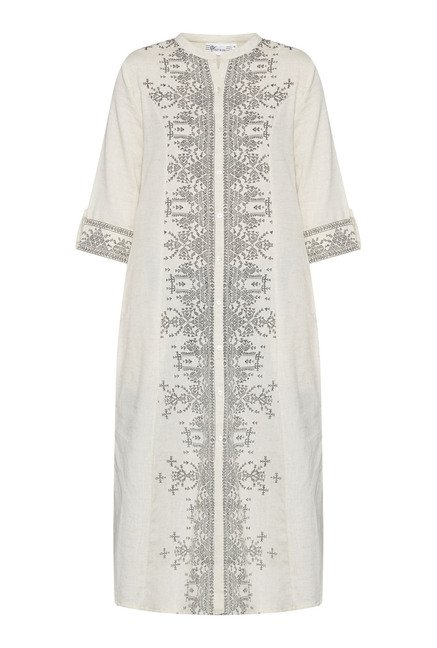 Utsa Beige Printed Band Neck Kurta
