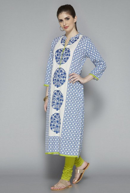 Utsa White Floral Printed Cotton Kurta