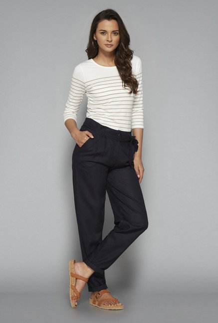 LOV Navy Solid Trouser