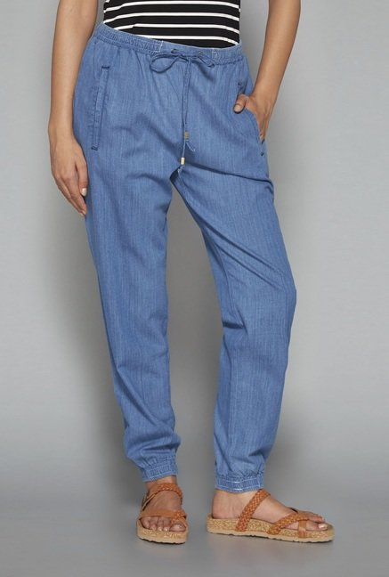 LOV Blue Solid Joggers