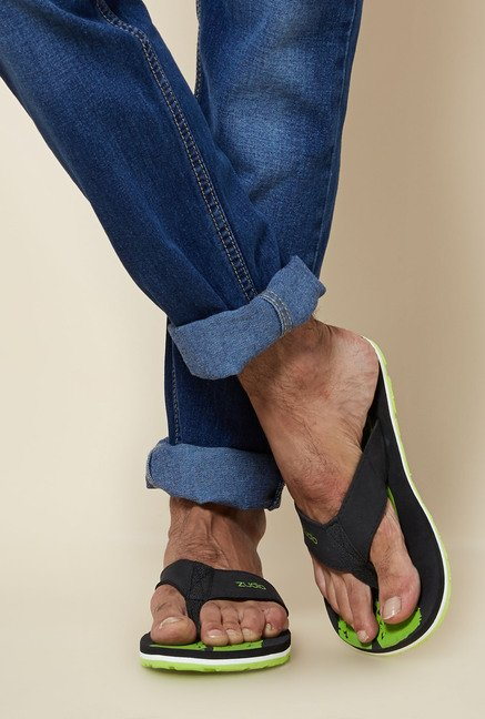 Zudio Black & Green Thong Flip Flops