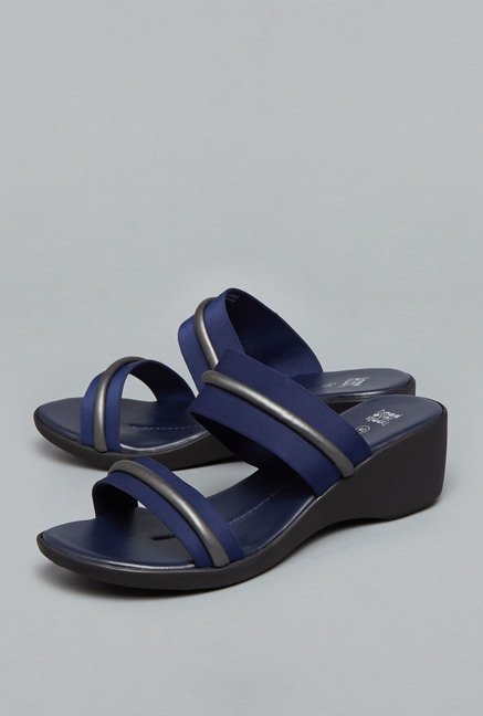 Head Over Heels Navy Wedge Sandals