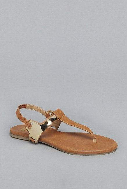 Head Over Heels Tan T Strap Sandals