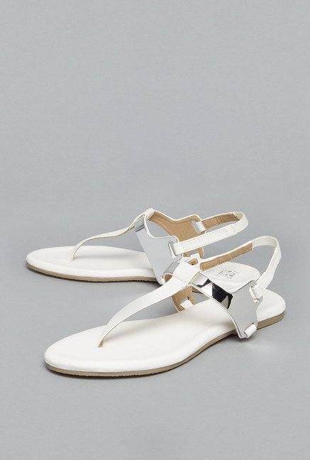 Head Over Heels White T Strap Sandals