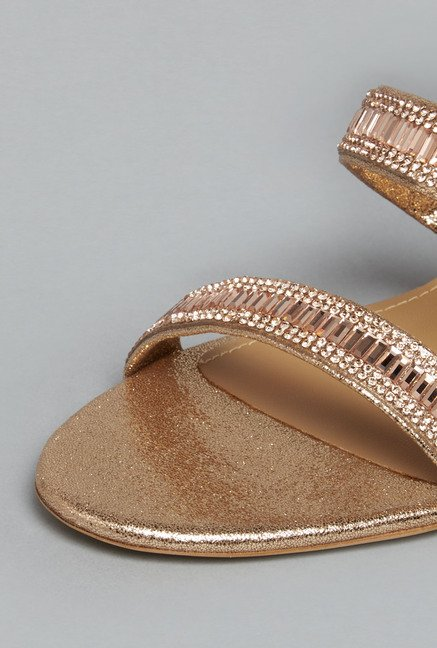 Head Over Heels Rose Gold Kitten Sandals