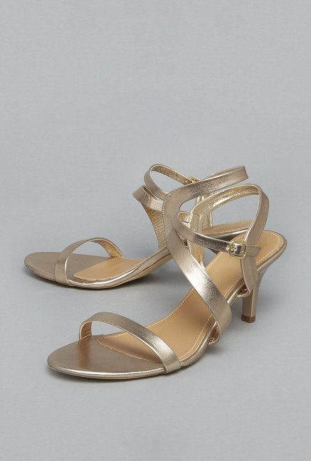 Head Over Heels Light Gold Kitten Sandals