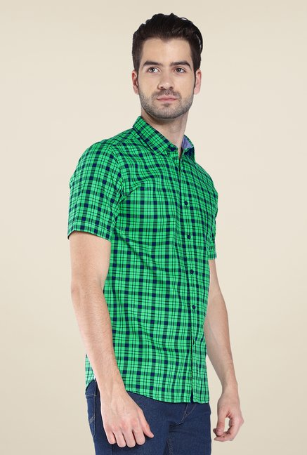 Parx Dark Green Checks Shirt