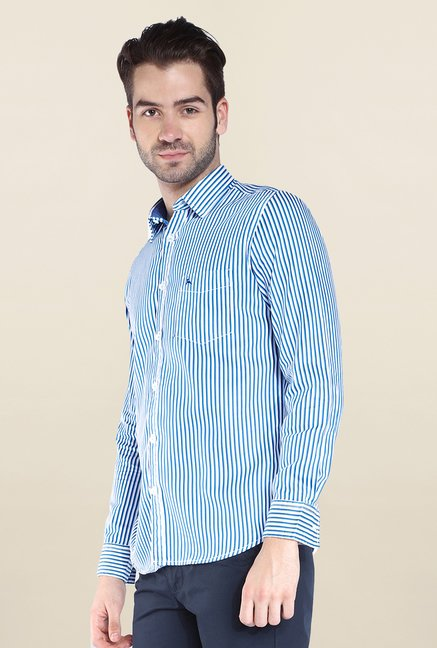 Parx Blue Striped Shirt