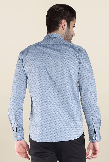Parx Blue Printed Cotton Shirt