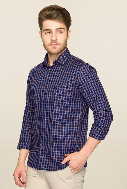 Parx Dark Blue Checks Shirt