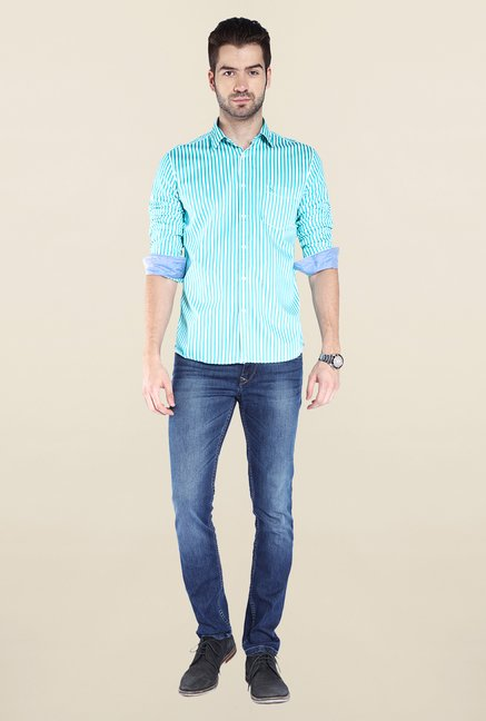 Parx Sky Blue Striped Shirt