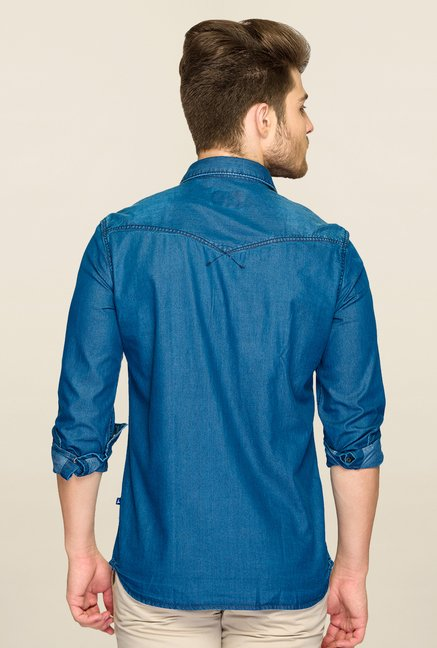 Parx Denim Blue Solid Shirt