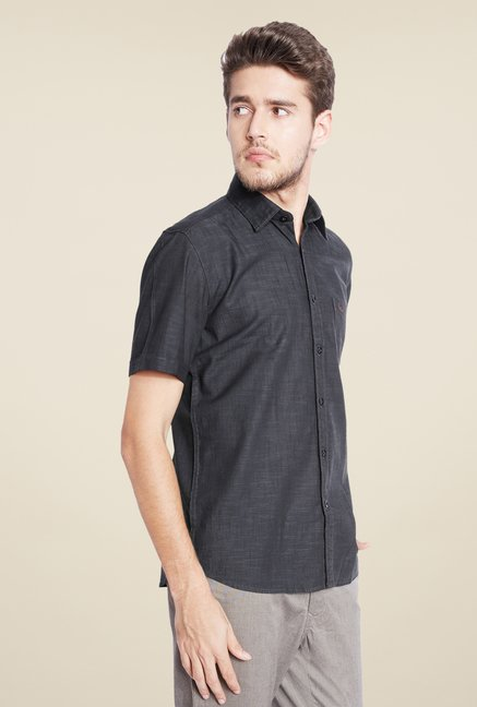 Parx Black Textured Shirt