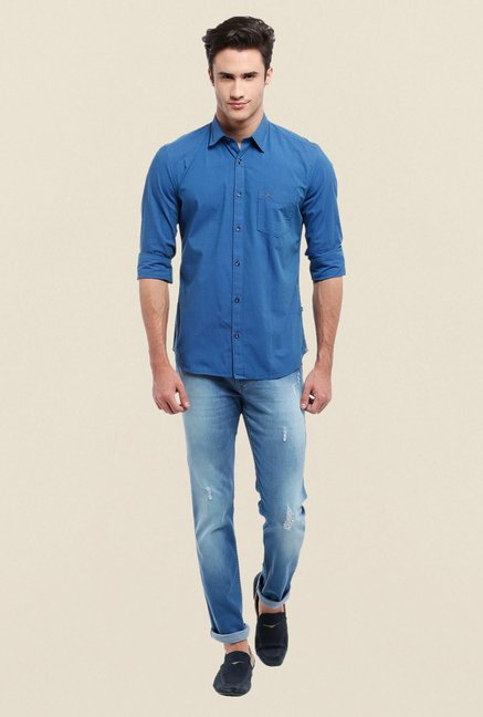 Parx Dark Blue Solid Shirt
