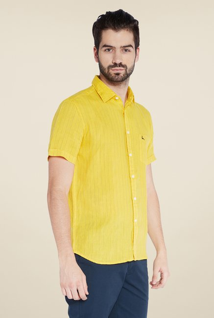 Parx Yellow Striped Linen Shirt