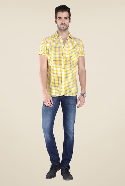 Parx Yellow Checks Linen Shirt