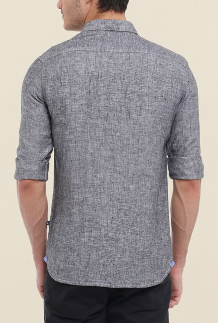 Parx Grey Textured Linen Shirt