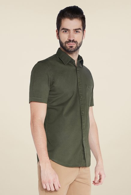 Parx Olive Solid Shirt